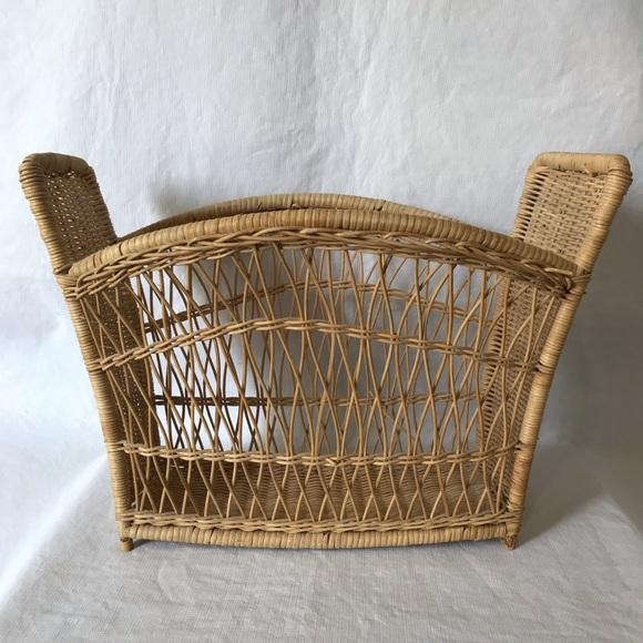 Vintage Wicker Magazine Basket Boho Rattan Storage